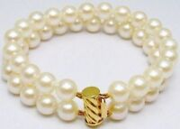 2 Row  AAA 9-10mm South Sea White Pearl Bracelet 7.5-8' 14k Clasp