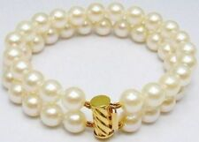 2 Row  AAA 9-10mm South Sea White Pearl Bracelet 7.5-8' 14k Clasp