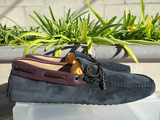 Tod's Tie Drivers, Navy Suede/Burgundy Leather, Men's Size US10.5M, MSRP $495