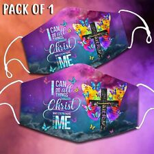 Pack of 1 I Can Do All Things Through Christ Butterfly Christian Cross Face Mask