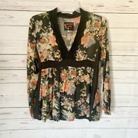 Johnny Was Tunic Top Small Long Sleeve V Neck Women's Floral Multicolor Black