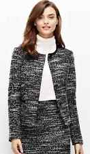 Ann Taylor - Petite 2P B&W Leather Trim Tweed Jacket (SUITING) $179.00 NWT (H)