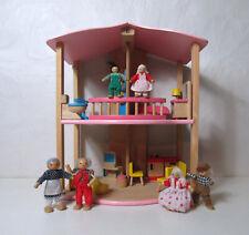 maison de poupée Pintoy + mobilier + personnages jouet en bois