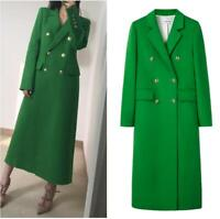 New Womens Wool Trench Coat Cashmere Double-breasted Jacket Long Blazer Designer