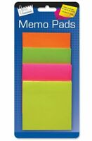 200x Sticky Notes MULTI COLOURED Neon Square Memo Reminder Note Office Desk Pack