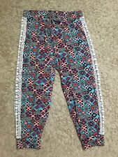Inspired Hearts Size Medium Bright Colorful Cuffed Cropped Capris Jogger Crochet