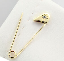 Safety Pin Brooch (0.05ct) Vintage Style14k Yellow Gold Diamond
