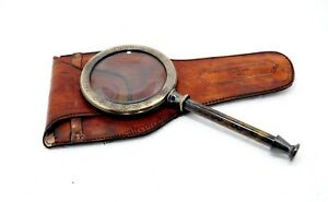 """Antique Brass Magnifying Glass 10"""" Magnifier With Leather Cover Collectible Item"""