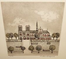 "CHRISTINE CHAGNOUX ""NOTRE DAME"" LIMITED EDITION HAND SIGNED COLOR ETCHING"