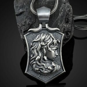 925 Sterling Silver Medusa Mens Necklace Medusa Shield Pendant Medusa Mens Gift