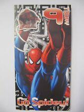 Fantástico colorido Spider-man 9 hoy noveno cumpleaños tarjeta de saludo & Insignia
