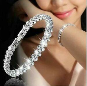 Fashion 925 Silver Plated Crystal Chain Bracelet Women Charm Cuff Bangle Jewelry