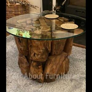 Teak Root Coffee Table Rustic Solid Wood Furniture Large Driftwood Accent Side