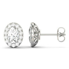 Moissanite by Charles & Colvard 7x5mm Oval Halo Stud Earrings, 2.22cttw DEW