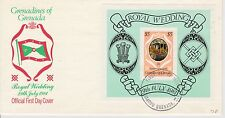 3 first day covers, Grenada, Scott #1051-1054, Royal Wedding, 1981