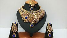 INDIAN BRIDAL & PARTY WEAR JEWELLERY SET BLUE GOLD PLATED STONE NEW AQ/187