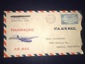 1936 Jul 10 Honolulu Hawaii To Seattle Transpacific Air mail Cover