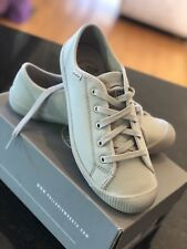 New Palladium Womens Flex Lace Leather Vapor Metal Grey Runner Trainer Shoe