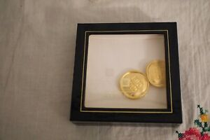 VTG Givenchy Paris New York Bijoux Logo Matte Gold Tone Pair Clip Earrings Mint