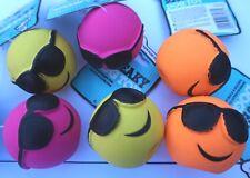 BULK BUY 6 Dog Toys Good Boy Latex SUMMER FACE BALL Dog TOY 2 of each colour