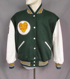 Vintage 1970s Wool Varsity Jacket Leather Sleeves Ram Patch Grace Christian Sz46