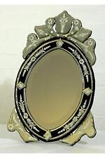 DUSX Venetian Oval Black & Clear Etched Decorative Table or Wall Mirror 35 x 55c
