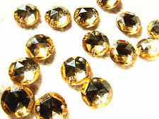 30 Pale Gold Faceted Beads Acrylic Rhinestones/Gems 15 mm Flat Back Stitch On