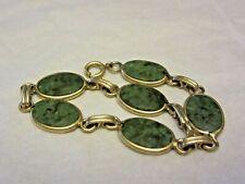 "Vintage 1/20 12k Gold Filled Yellow Gold & Green Jade Scarab Bracelet 7 1/4"" E"