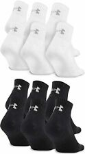 3 Pair Mens Under Armour Charged Cotton 2.0 Quarter Crew Socks Black White Large