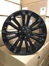 "4 NEW 2015 24"" GMC ACCESSORY Wheels OE Replica GLOSS BLACK YUKON DENALI CHEVY"