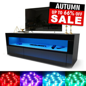 Modern TV Unit Cabinet Stand Black High Gloss Door 120cm with LED Lights Drawers