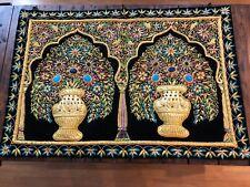 Exotic Handmade Jeweled Carpet Rug Wall Hanging Art Kashmir Zari A Beauty USA