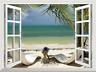 Tropical Beach Ocean Palm 3D Window View Removable Sticker Wall Decals Decor Art