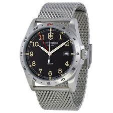 New Victorinox GMT  Swiss Army 241649 Infantry Men's Mesh SS  Watch black