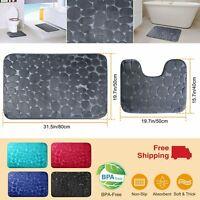 2Pcs Non-slip Bathroom Floor Rugs U-Shaped Toilet Mat Kitchen Carpet Home Decor