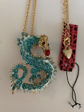 Betsey Johnson BLUE Crystal Dragon BROOCH Pendant Necklace Sweater Chain-BJ88074
