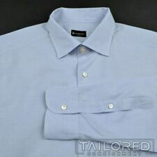 ERMENEGILDO ZEGNA Solid Blue 100% Cotton Mens Luxury Dress Shirt - BESPOKE 17