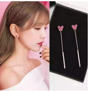 Fashion Love Zircon Long Tassel Earrings Women Wedding Ear Line Jewelry Gifts