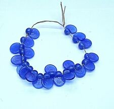 """UNIQUE HANDMADE LAMP WORK GLASS MARLEY DROP BEADS, """"ELECTRIC BLUE"""""""