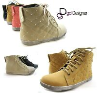 NEW Womens Fashion Sneakers Shoes Booties Lace Up High Top Casual HOT Cool Flat