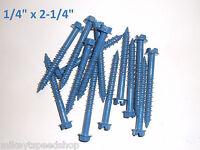 "1/4"" x 2-1/4"" CONCRETE MASONRY cement SCREWS screw anchors HEX slot head (15pcs)"