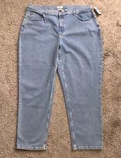"COVINGTON Womens Plus Size 24W Tapered Denim Blue Jeans 31"" Inseam NWT New"
