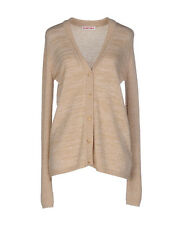 $565 SEE BY CHLOE Beige Gold Wool Blend Knitted CARDIGAN Sweater IT-44 US-8