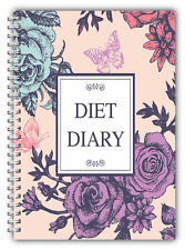 DIET DIARY SLIMMING TRACKER FOOD DIARY A5 WEIGHT LOSS JOURNAL DIET DIARY FLOWERS