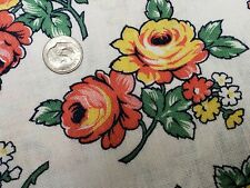 Best Vintage Feedsack Quilt Fabric 40s Pink & Yellow Roses Wwii Flour Full Sack