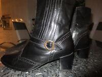 ara Damen Stiefelette  Stiefel 7,5  G Echt Leder schwarz  Venezianisches Muster