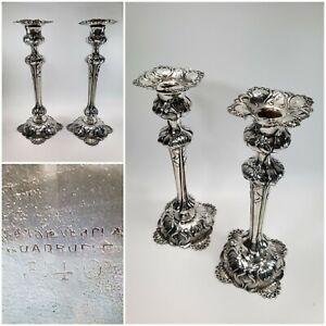 Elegant Victorian Quadruple Plate Single Candle Stick Holders / Set of 2