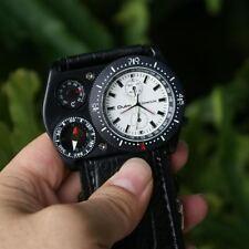 Reloj Hombre MILITAR Cuero Cuarzo Decoración Brujula Termometro Men Wrist Watch