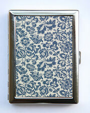 Cigarette Case ID case Wallet Art Nouveau Floral Pattern Blue Grey