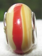 Tan Red Brown Stripe Murano Glass Bead for Silver European Style Charm Bracelets